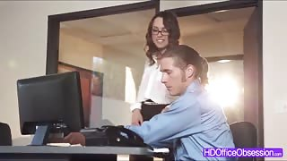 Hot babe Jade Nile loves riding a bigcock of her boss in the office