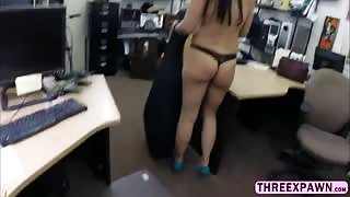 Amazingly beautiful Brazilian gets pussy fucked in the shop and sucked cock in style