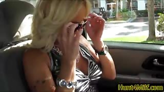 Busty blonde milf Dani Dare picked up and goes home to suck cock and ride it