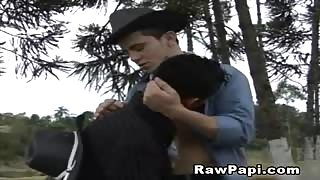 Horny Latino Cowboys Outdoor Sex