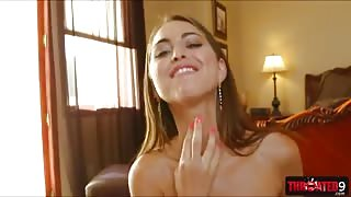 Shorty sweetie Riley Reid chokes on a rock hard meat shaft