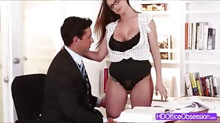 Sexy Secretary Brooklyn Chase reveals her lacy lingerie and perky soft butt