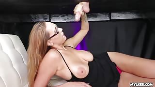 Alexia Rae cock milking with cum on tits