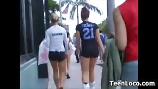 Teen Athletes In Spandex Shorts