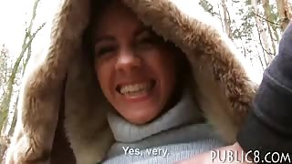 Sexy Eurobabe banged in public for cash