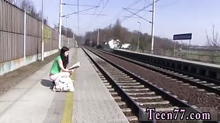 Teen couple hotel first time Masturbating at the train station