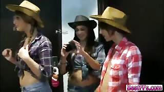Horny Cowgirl gets sent to wet room hard with their friends