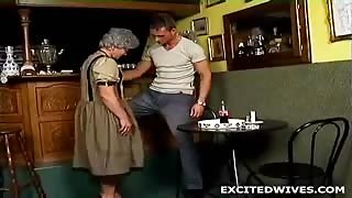 62 year old widow doing her daily workout on her bike when the guy next door came by to fix her sauna. In this little story fixing the sauna means fucking her old cunt like theres no tomorrow. Fucking like animals on the floor and only end one way, with a