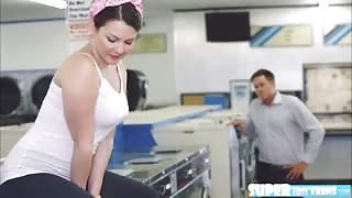 Horny and round ass Cali Hayes gets fucked by laundromat owner