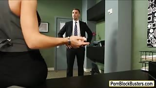 Busty Madison Ivy throats and gets fucked by her clients agent