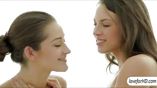 Red hot girlfriends Dani Daniels and Lily Love erotic FFM